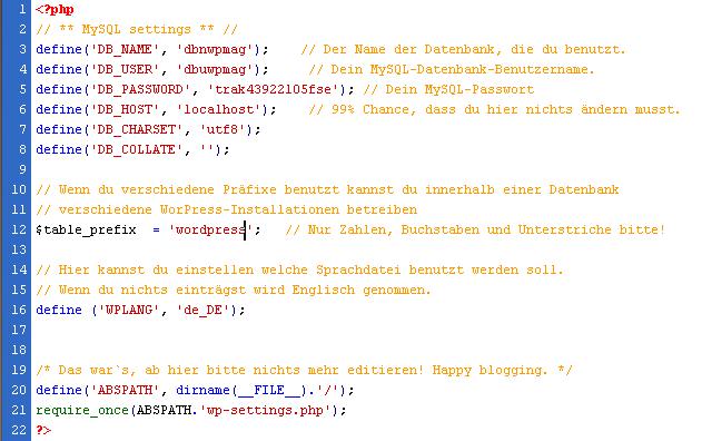wp-config - WordPress Konfigurationsdatei
