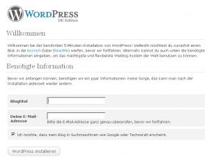 WordPress Installation bei 1&1- Blog Beschreibung