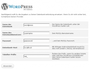 Datenbankinformation in WordPress Installationsroutine hinterlegen