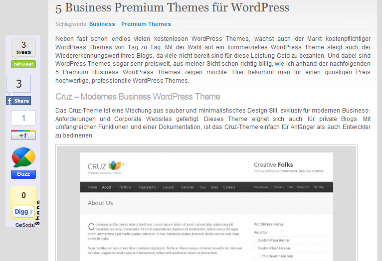GetSocial - Social Media Plugin für WordPress - Scrollt automatisch mit - Best WordPress Social Media Plugin