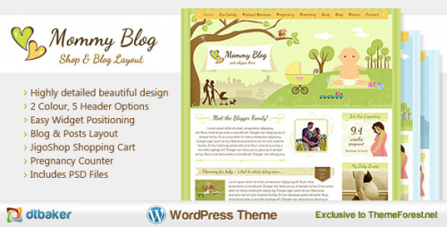 Best Premium ECommerce Themes - Moomy Blog WordPress Premium eCommerce Theme - Kinder Baby Shop Theme Übersicht