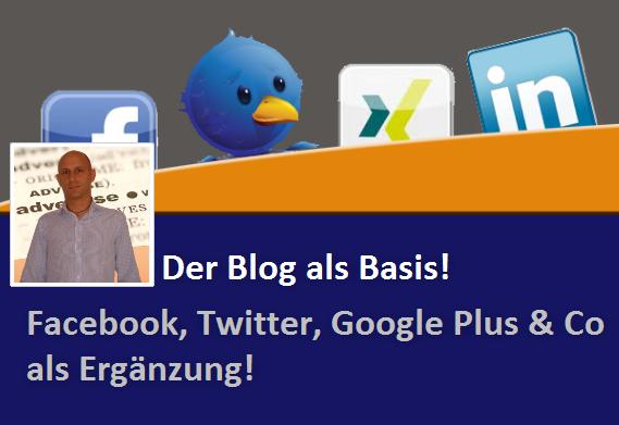 Der Blog als Basis - Facebook, Twitter, Google Plus als Ergänzung. Social Media Strategie für Unternehmen.