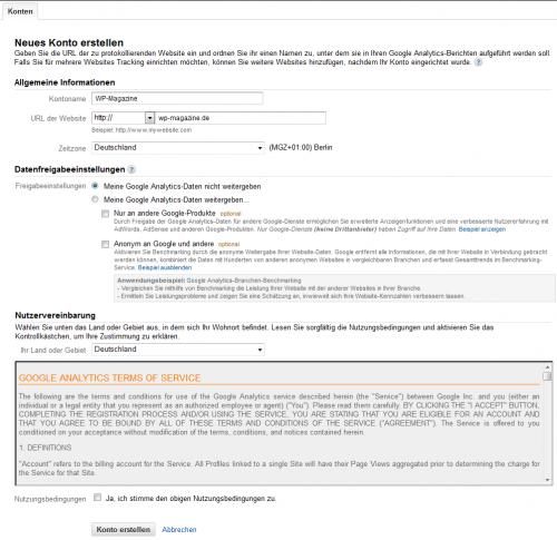 Anlegen eines neuen Google Analytics Kontos für die Webseite, WordPress