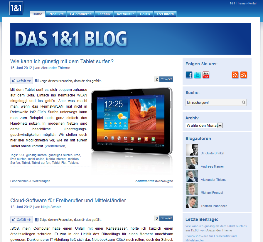Corporate Blogs in Deutschland: Corporate Blog 1&1 Internet AG