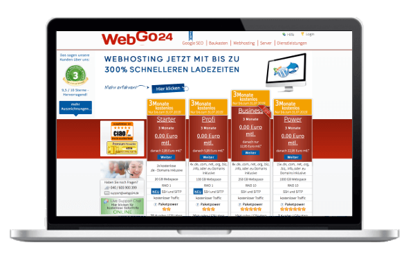 webgo24 WordPress Hosting Vergleich - Test WordPress Hoster WebGo24