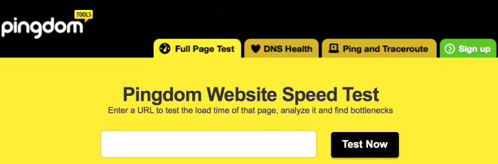 Pingdom - Website Speed Test - Ladezeiten der Webseite testen mit Pingdom