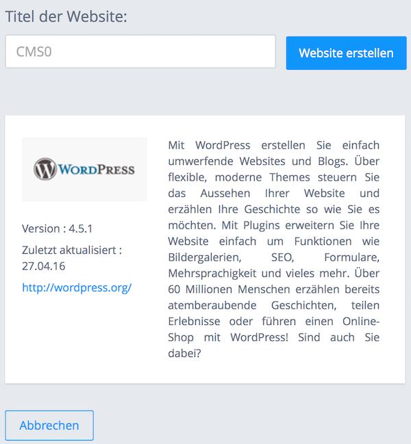 WordPress Blog Installation bei 1und1 - Automatische WordPress Installation Schritt - Titel eingeben