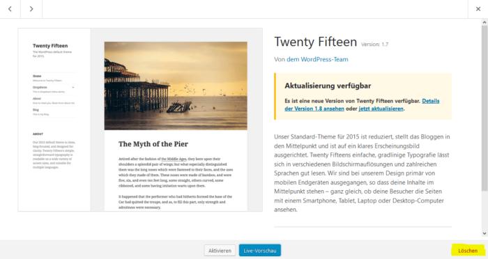 WordPress Theme deinstallieren löschen