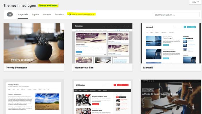 WordPress Theme installieren - Theme-Übersicht