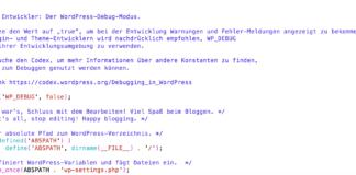 leere weiße WordPress Seite - Fehler finden mit Debug-Mode true