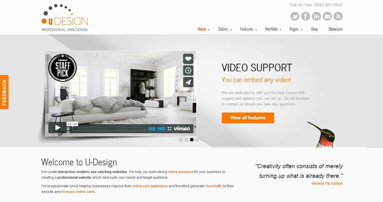uDesign Premium WordPress Theme Responsive, Corporate, Slider, Revolution, Interactive, Modern,